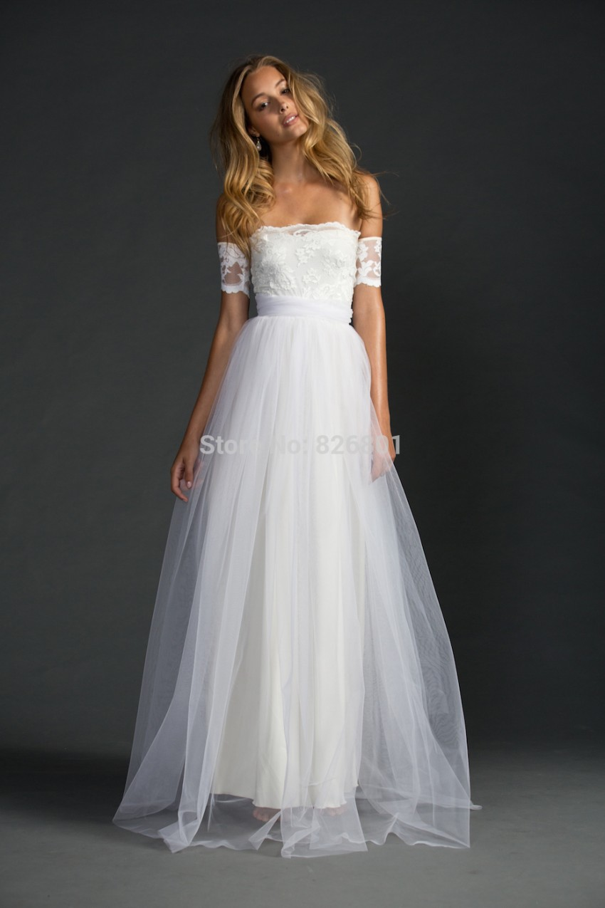 Romantic simple white tulle with lace beach wedding dress for Cheap boho wedding dresses