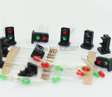 JTD19 10 sets Target Faces With LEDs Railway Dwarf signal HO OO Scale 2 Aspects(China (Mainland))