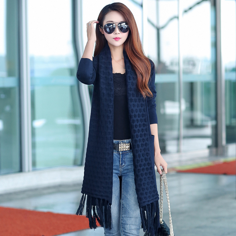 Winter Women Knitted Cardigan Long Sleeve poncho Sweater Cardigans Solid Loose Sweaters Jacket Autumn Jumpers Coat Pull Femme