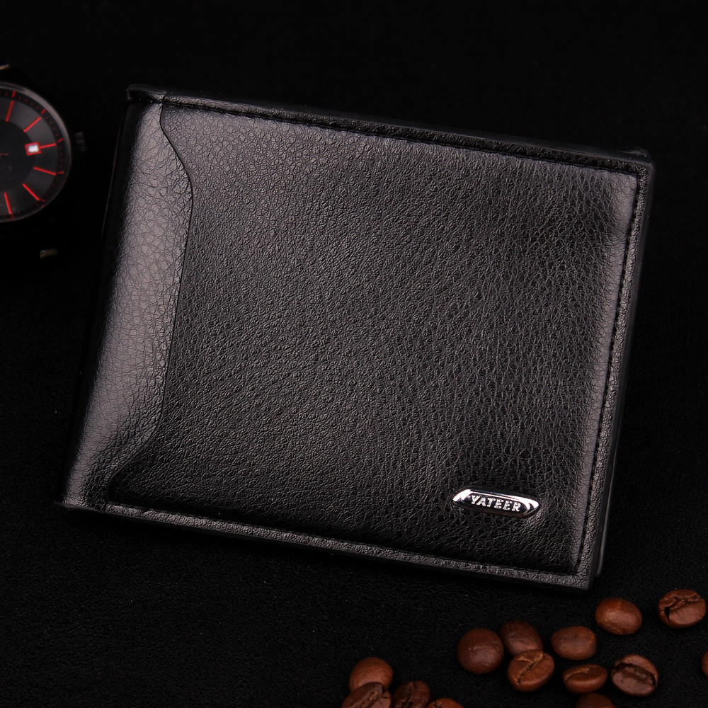 Фотография New 2015 Fashion Brand Men Leather Wallets Genuine Leather Mens Wallets Bifold Male Money Purses Masculina Carteira