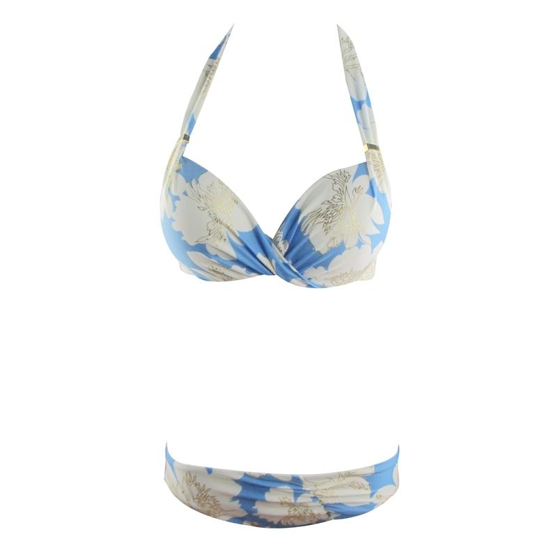 2015 Sexy Flower Floral Print Swimwear Ruffled Bikini Push Up Bikini Swimwear Halter  Swimsuit Ladies Bathing Suit 1357Одежда и ак�е��уары<br><br><br>Aliexpress