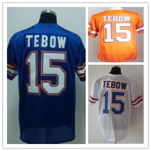 top Quality NCAA Football Jerseys Wholesale Florida Gators #15 Tim Tebow Orange Jersey free shipping(China (Mainland))