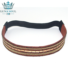 1 pc/lot 2016 LunaSouL New Style Elastic Crystal Rhinestone Leather Headband Hairband Hair Accessories For Women Girl HTD1617