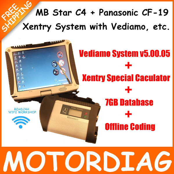 [ CF-19 + MB Star C4 SD Connect Diagnosis ] Xentry Diagnostics System Vediamo Diagnose Compact 4 Multiplexer For Mercedes Benz(China (Mainland))