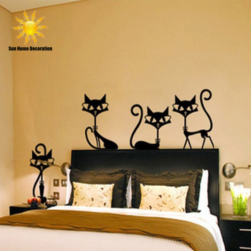 4 black fashion wall stickers cat stickers living room for 4 home decor