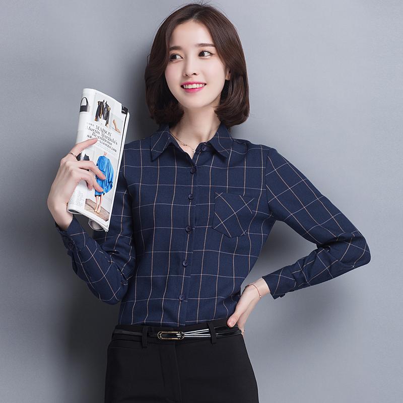 Autumn New Women's Long Sleeve Plaid Shirt Pocket Casual Blouses Tops Blue Black(China (Mainland))