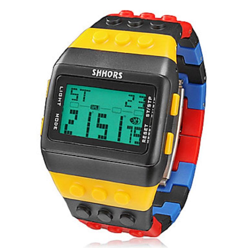 Men's Watch Sports Block Bricks Style LCD Digital Colorful Plastic Band(China (Mainland))