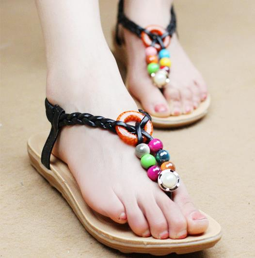 Women sandals, 2015 new summer sandals, thong sandals bohemian, ethnic style beaded flat shoes<br><br>Aliexpress