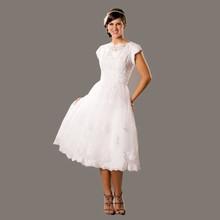 Short Teal Lace Wedding Dresses A Line 2015 Sale Short Sleeve Tulle Cheap Robe De Mariage
