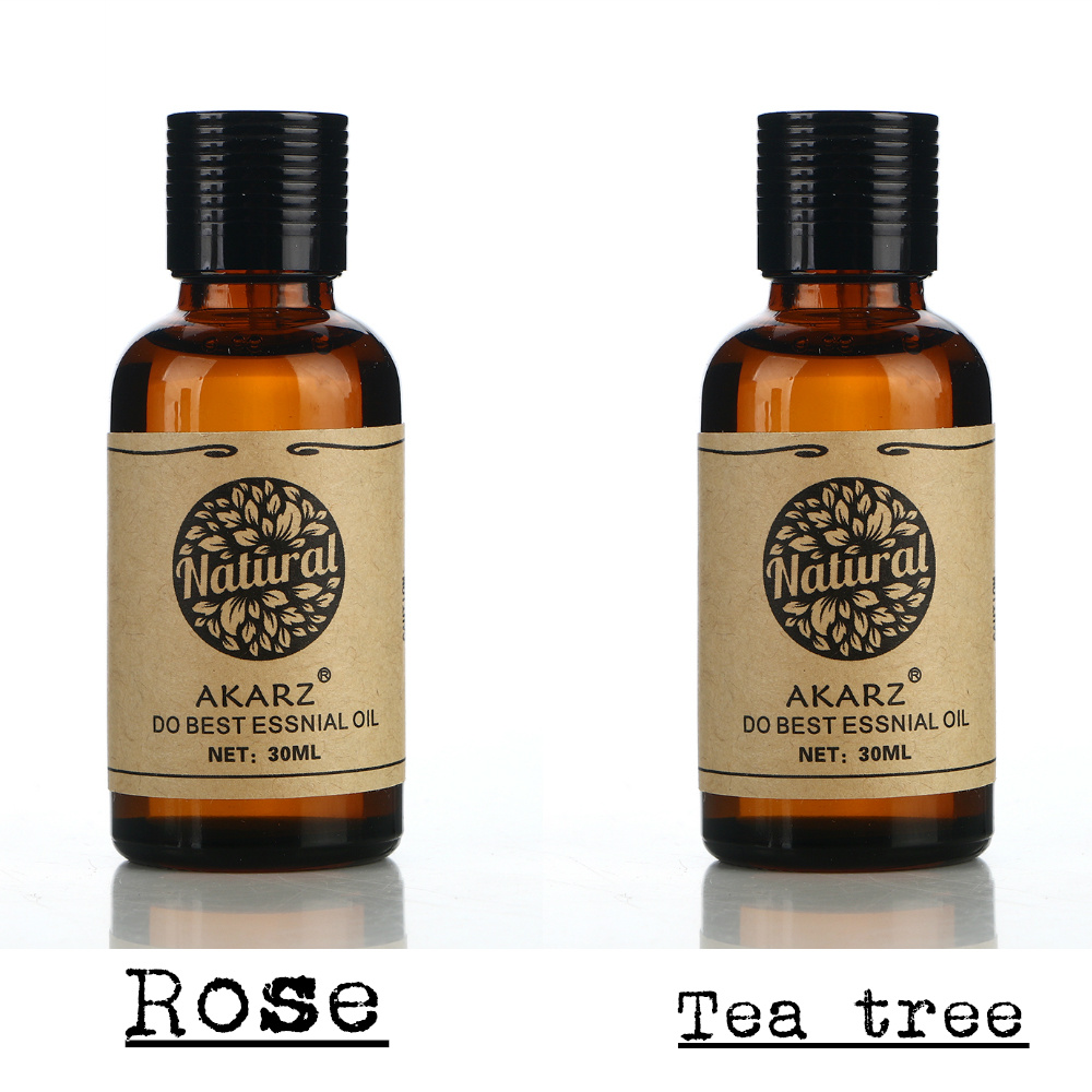 Famous brand AKARZ Whitening and freckle removing sets Rose essential oil+Tea tree essential oil body Massage Oil spa 30ml*2(China (Mainland))