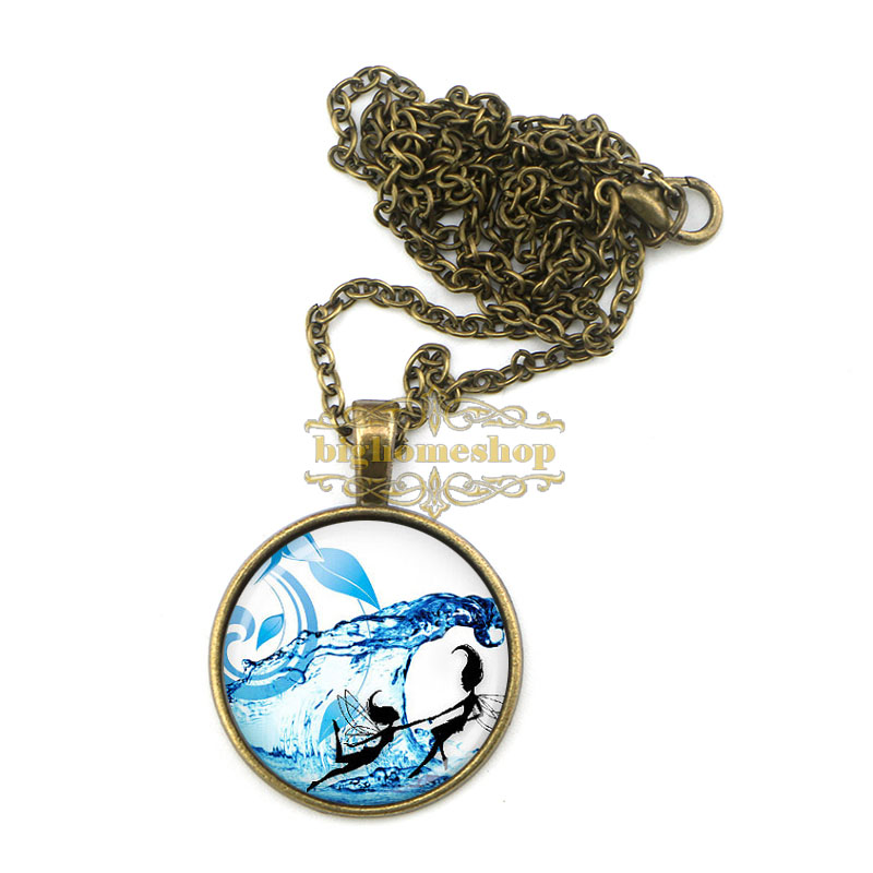 24pcs/lot AZZ0978 blue fairy pendant fairy necklace handmade water fairy jewelry(China (Mainland))