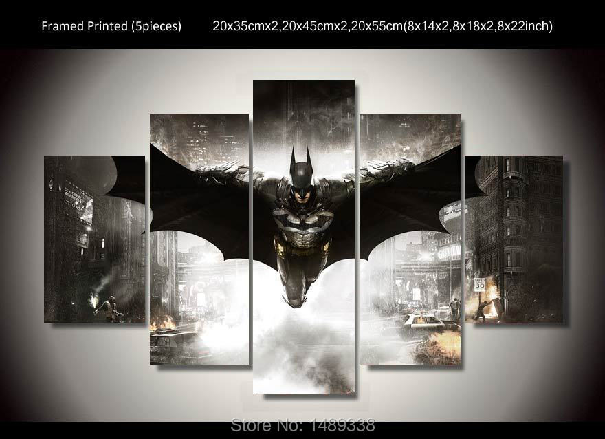 Framed Printed Batman Movie Poster 5 piece painting wall art children's room decor poster canvas Free shipping F/477(China (Mainland))