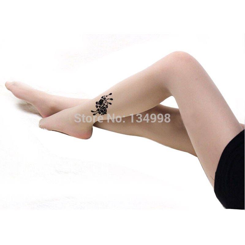 Attractive Hot Sexy Tattoo Pattern Pantyhose Tights Lady Cat Silk Stocking (Color Beige )(China (Mainland))