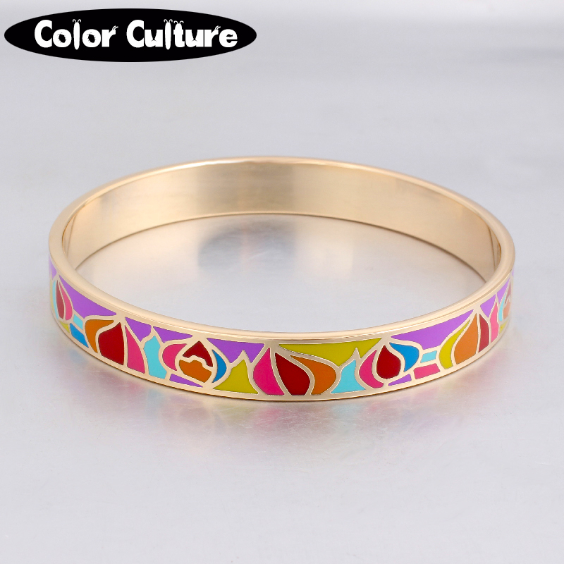elegant classic bangles vintage Painted gold plated stainless steel 10mm width enamel bracelet for women trendy party Jewelry(China (Mainland))