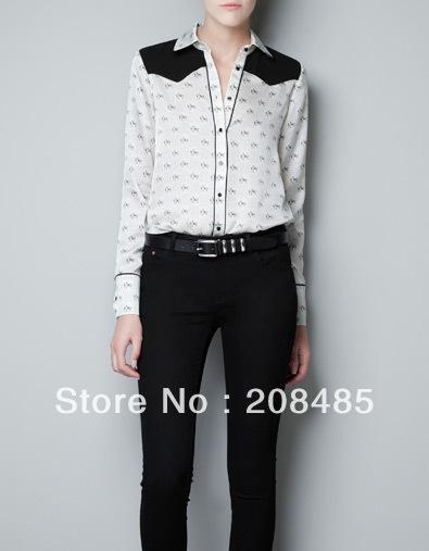 2012 new fashion womens' chiffon little horse print elegant chiffon blouse quality shirt long sleeve patchwork OL slim casual