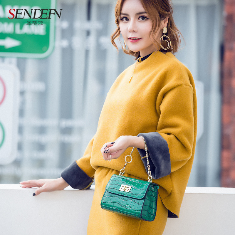 2017 new shoulder Messenger bag chain packet leather tide tide Japan and South Korea mini small square bag(China (Mainland))
