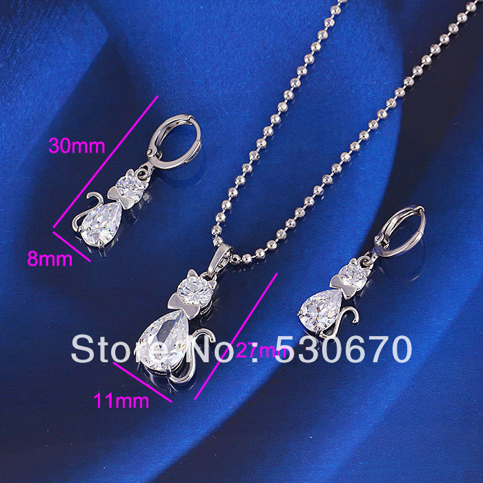 6sets Genuine 24K white gold filled 100% Zircon cat necklace &earrings jewerly set wedding decoration - ANN' Shop store