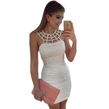 Buy Womens Elegant Cute White Lace Dress Fashion Hollow Sleeveless Summer Sheath Bodycon Party Dress Robe for $12.72 in AliExpress store