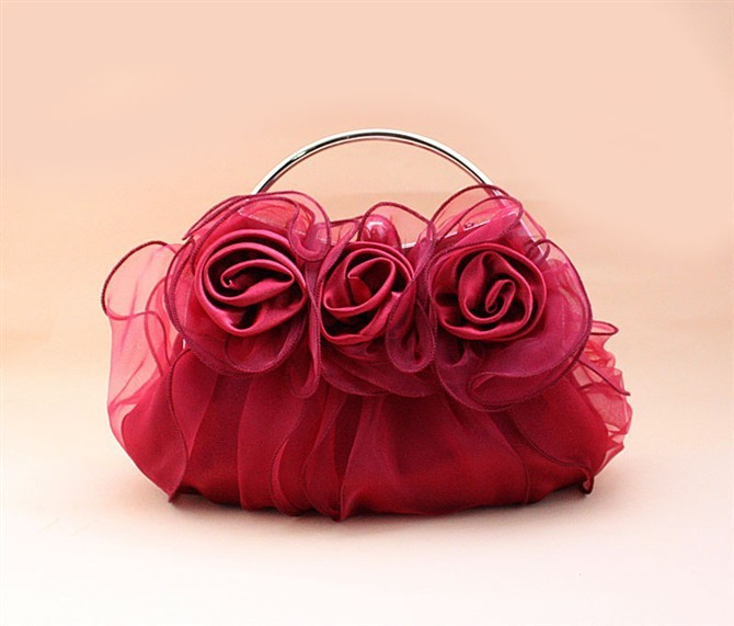 Fashion Burgundy Ladies' Satin Handbag Clutch Party Bridal Evening Bag Makeup Bag Purse Free Shipping 03850-G(China (Mainland))