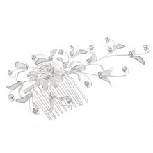 Silver Plated Flower Rhinestone Crystal Hair Comb Pin Tiara Chic(China (Mainland))