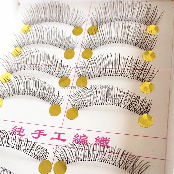Charming Lashes New 10 Pairs Handmade Fake Lashes Natural Transparent Stem Black False Eyelash(China (Mainland))