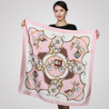 90 90cm satin square silk scarf flower floral print Vintage Charmeuse quare scarf Women Genuine Natural
