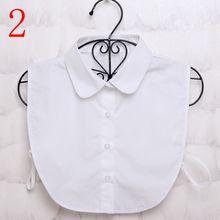 1 pieza Unid mujer camisa sólida algodón encaje falso collares blanco y negro blusa Vintage desmontable Ropa Accesorios(China)