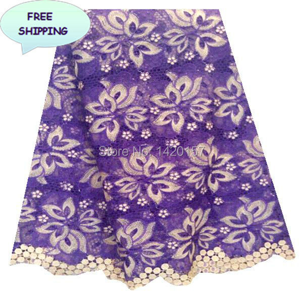 2015 Fashion Fabric Material African Cord Lace High Quality, Purple Color Mini 5 Yards Bridal lace Fabric UK With Polyester(China (Mainland))
