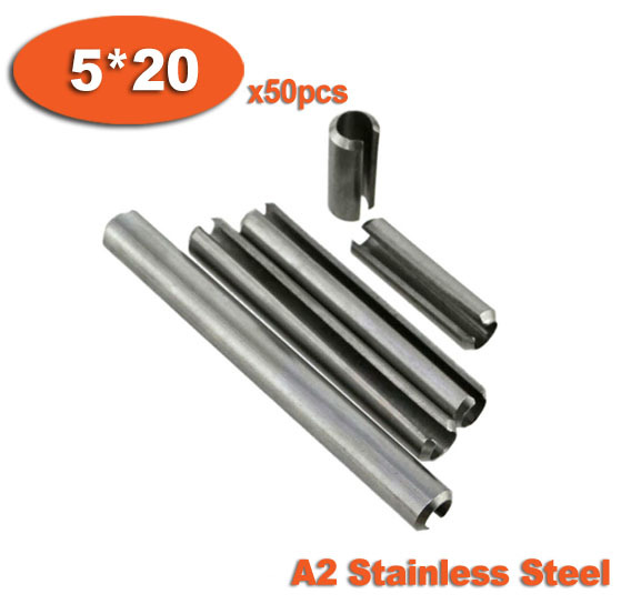 50pcs DIN1481 5 x 20 A2 Stainless Steel Slotted Spring Pins<br><br>Aliexpress