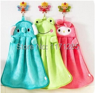New creative Cute Animal Microfiber Kids Children Cartoon Absorbent Hand Dry Towel Lovely Towel For Kitchen Bathroom Use(China (Mainland))