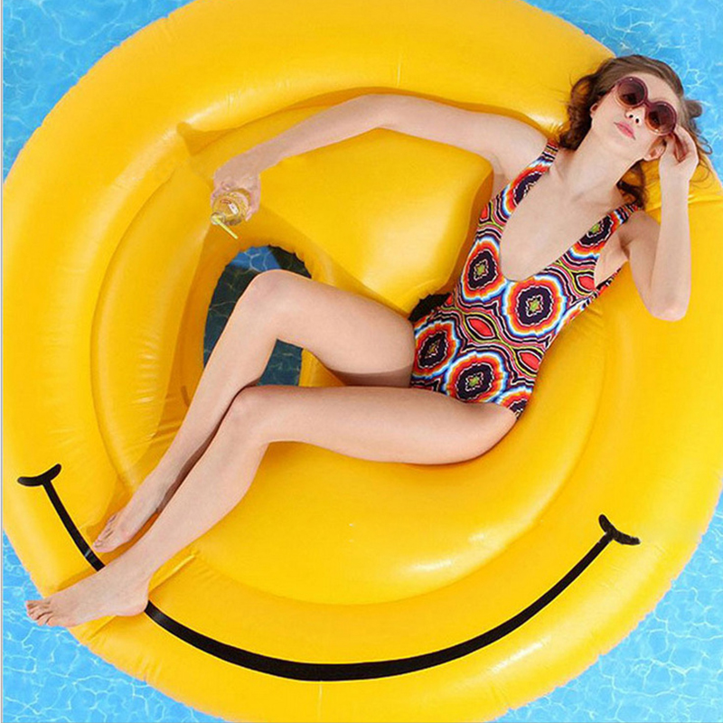 2016 Summer Yellow Round Inflatable Smile Float Island Lounger Smiley-Face Pool Floating Raft Bed Air Mattresses 160CM(China (Mainland))