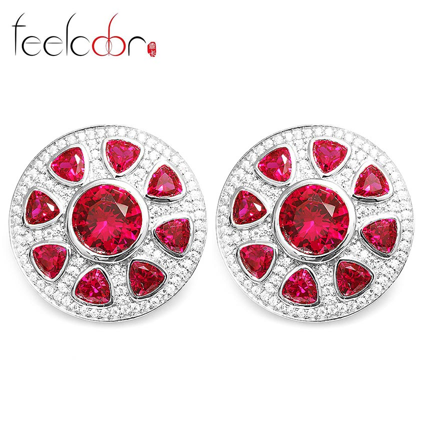 A Pair of Ultra Big Pigeon Blood Red Ruby Clip Earrings 925 Solid Sterling Silver Luxury Brand New Fine Jewelry Outstanding<br><br>Aliexpress
