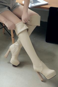 2015 новинка высокие каблуки высокие тай для женщин зимнее осень над коленом эластичной ткани сапоги