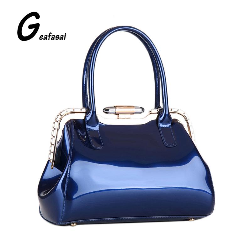 blue rose red ladies Glossy light patent Leather boston Handbags bags hasp Diamond Metal frame for women lady female feminina(China (Mainland))