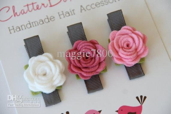 "Wholesale - 2.5"" Baby felt hair bows hair clips Girl Hair Accessories Baby felt Felt Flowers bows handmade A392"