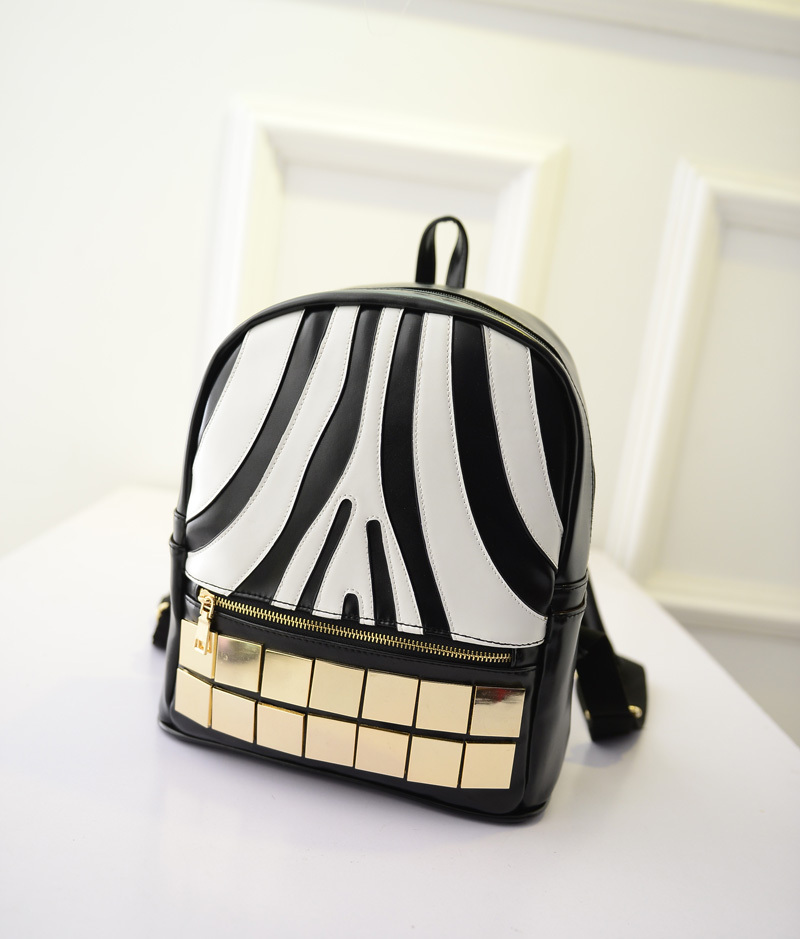 New fashion female bag PU leather shoulder bag schoolbag Korean version zebra waterproof small backpack wholesale Free Shipping(China (Mainland))