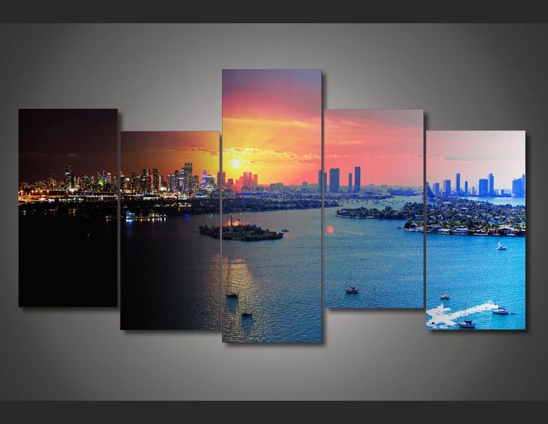 Canvas Print Painting set Florida Miami Painting Modern Poster Wall Art set Picture for Kids Room Decor Free Shipping fj-2065(China (Mainland))
