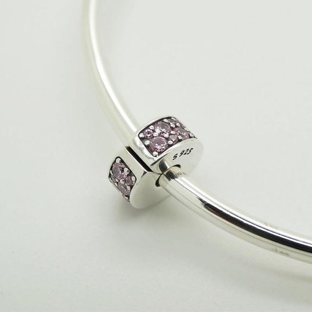 Серебряный бусины сияющий элегантность клип с причудливыми фиолетовый Cz 2016 мода ювелирных изделий подходит европейский стиль браслет прелести ожерелье