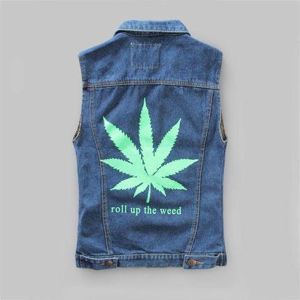 New arrived 2015 Fashion Maple Leaf printing Denim Vest Men Coat Sleeveless Motorcycle Jeans Vest Jackets Free Shipping(China (Mainland))