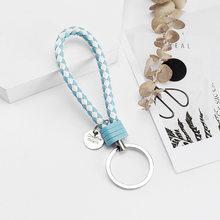 Vicney 33 Cores PU de Couro Trançado Woven Rope bts DIY keychain bag Pingente Chaveiro Chaveiros Carro Titular Das Mulheres Dos Homens keychain(China)
