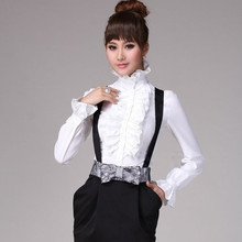 Fashion White Ruffle Long Sleeve Blouse Femininas 2015 Office Work Wear Shirt Women Tops(China (Mainland))