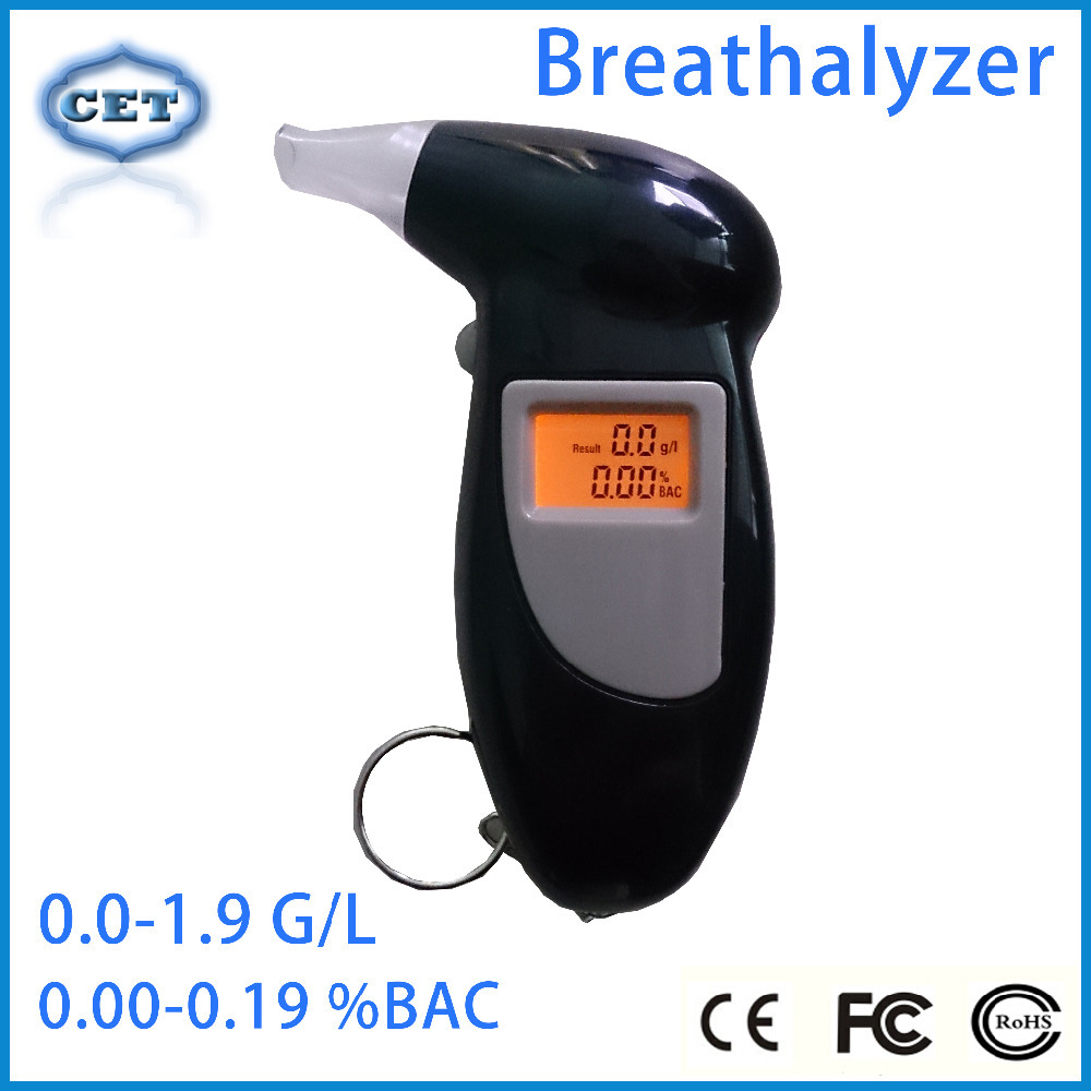 High Quality Key Chain Alcohol Tester Digital Breathalyzer with Red Backlights (0.19% BAC Max) PFT-68S(China (Mainland))
