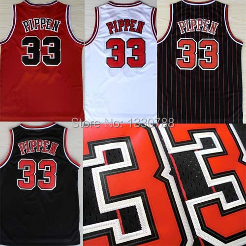 Chicago #33 Scottie Pippen Jersey Black White Red Stitched Retro Throwback Scottie Pippen Cheap Sport Basketball Jerseys(China (Mainland))
