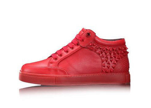 2015 new arrive red color royaums female genuine leather with red rivts lace up outdoor casual