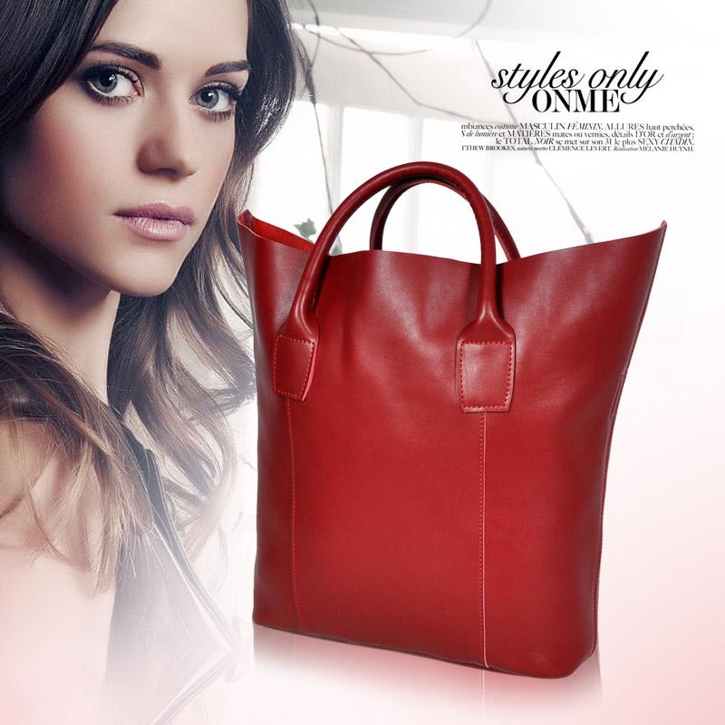 New 2015 Guaranteed 100% Genuine Leather Bag Women Leather Handbags Shoulder Bags Women Handbag Evening Tote Bag Large Size SALE(China (Mainland))