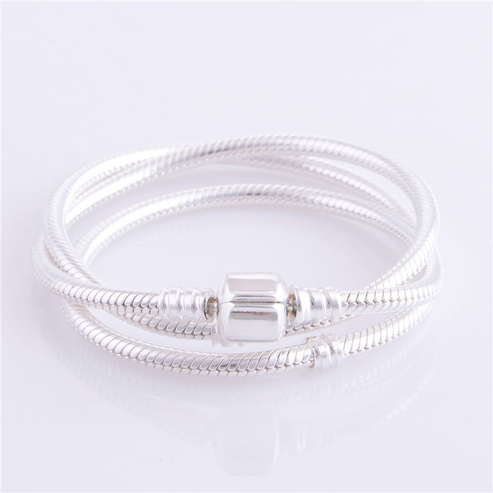 Hot 925 Sterling Silver Snake Chain Compatible With Pandora Bracelet Charms Bead Bracelets for Women Men DIY Jewelry