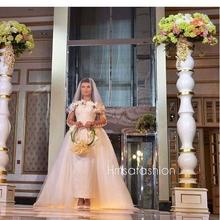 2016 elegant Wedding Dresses long sleeve Wedding Gowns Bridal Dresses Lace appliques Detachable Train beach Wedding Dress SA104(China (Mainland))