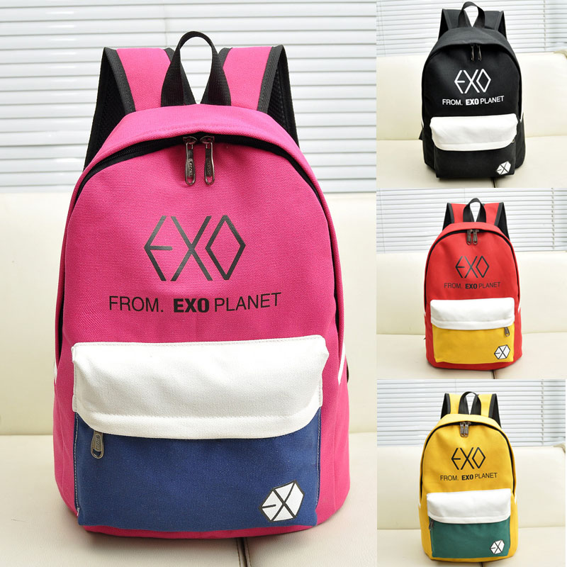 2015 New Arrive Canvas Womens Backpacks Male Bag Casual Bags Rucksacks Men Student School Bags For Teenagers EXO Backpack<br><br>Aliexpress