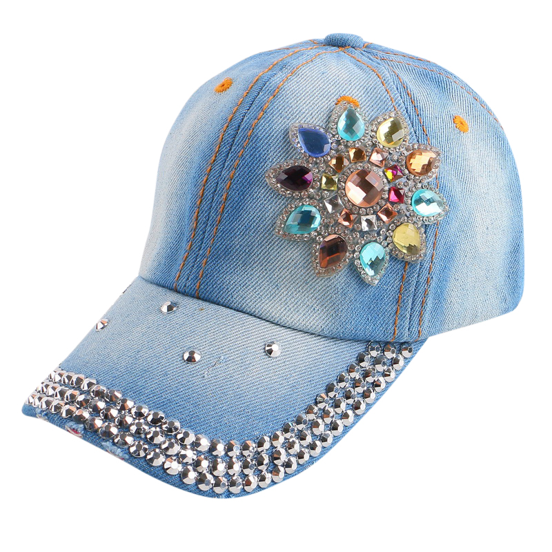 good qaulity new most popular women girl children 54 CM size spring summer floral baseball cap rhinestone fashion snapback hats(China (Mainland))