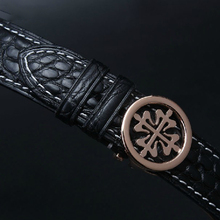 Black Alligator Watchband with white stitching Luxury Brand Watch band Straps Bracelet High Quality Men Watch Accessories 20mm